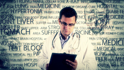 Young Doctor Glasses Checking Documents Medical Bakcground 2 Stock Video Footage