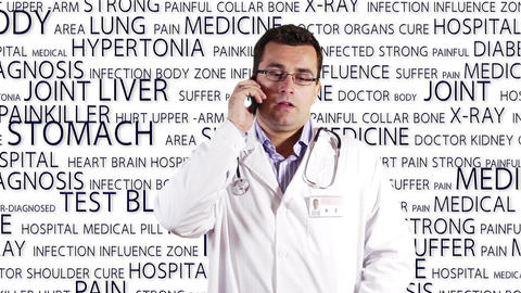 Young Doctor Glasses Smartphone Medical Bakcground 3 Stock Video Footage
