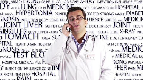 Young Doctor Glasses Smartphone Medical Bakcground 3 Footage