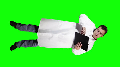 Young Doctor Scientist Full Body Documents Phone GS 19 Stock Video Footage