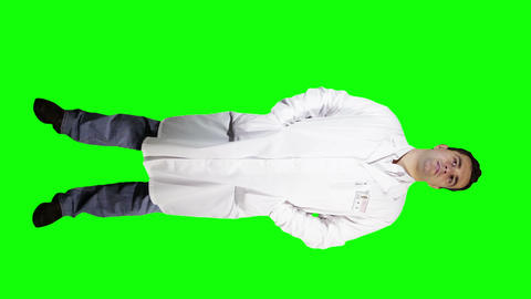 Young Doctor Scientist Full Body Greenscreen 1 Stock Video Footage