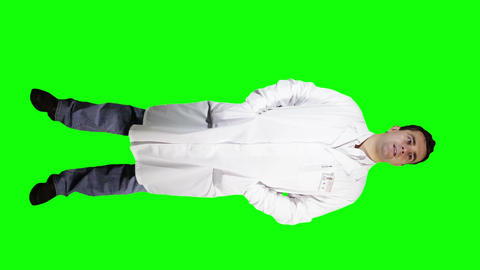 Young Doctor Scientist Full Body Greenscreen 1 Footage