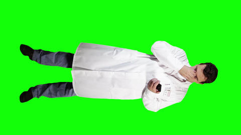 Young Doctor Scientist Full Body Smartphone Bad News GS 11 Stock Video Footage