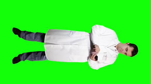 Young Doctor Scientist Full Body Smartphone Greenscreen 9 Stock Video Footage