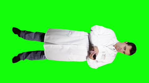 Young Doctor Scientist Full Body Smartphone Greenscreen 9 Footage