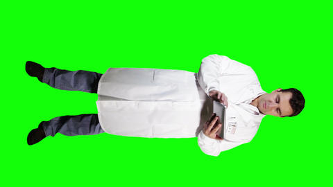 Young Doctor Scientist Full Body Tablet PC Greenscreen 12 Footage