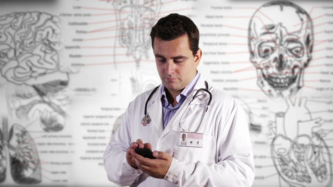 Young Doctor Smartphone Texting Medical Background 22 Stock Video Footage
