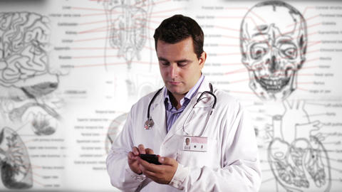 Young Doctor Smartphone Texting Medical Background 22 Footage