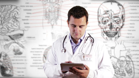 Young Doctor Tablet PC Medical Background 24 Footage