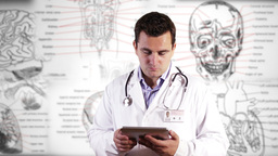 Young Doctor Tablet PC Medical Background 24 Stock Video Footage