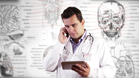 Young Doctor Tablet PC Phone Bad News Medical Background 25 Footage