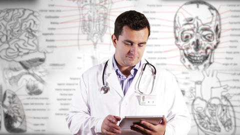 Young Doctor Tablet PC Phone Medical Background 26 Stock Video Footage