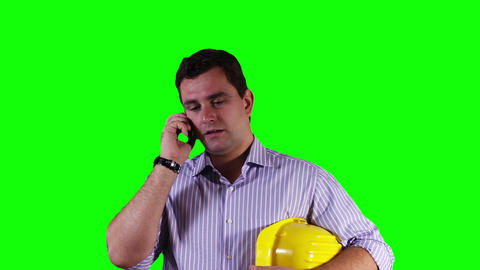 Young Engineer Cell Phone Greenscreen 9 Stock Video Footage