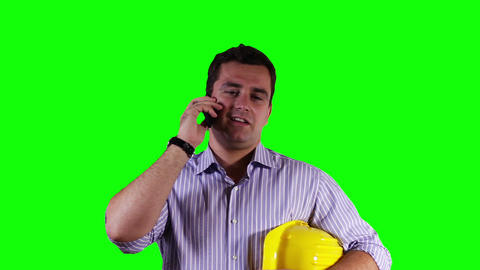 Young Engineer Cell Phone Greenscreen 9 Footage