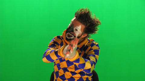 clown on the green screen Stock Video Footage