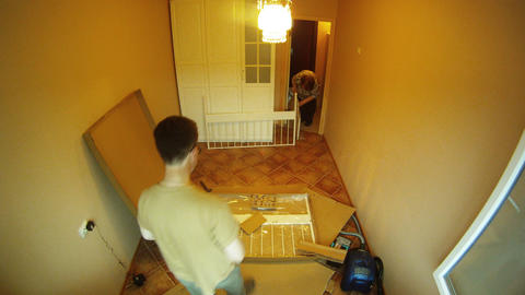 Furniture assembling timelapse Footage