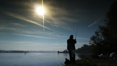 Spin fishing sequence 4 Stock Video Footage