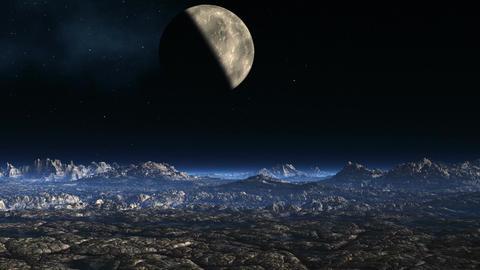 Planet against a fantastic landscape Stock Video Footage