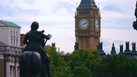 Big Ben and King Charles I statue Footage