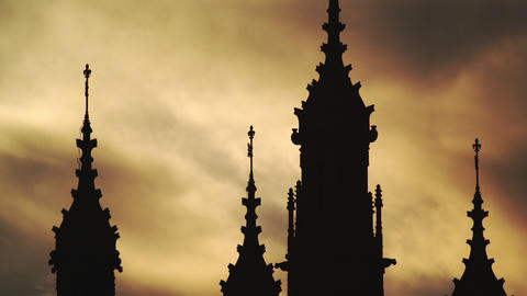 Westminster towers at sunset Footage