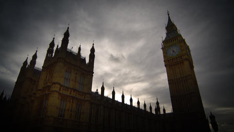Time-lapse of clouds over Westminster and Big Ben Footage