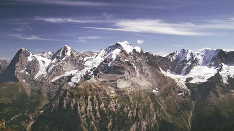Static shot of foggy Swiss Alps Footage