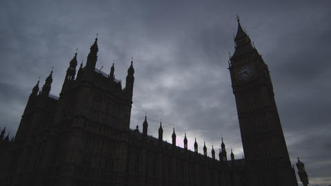Time-lapse of grey clouds gliding over Westminster Footage