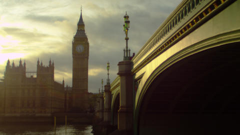Westminster, Big Ben and Thames at twilight Footage