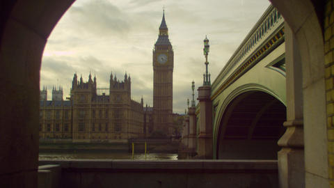 People in a tunnel across Westminster and Big Ben Footage