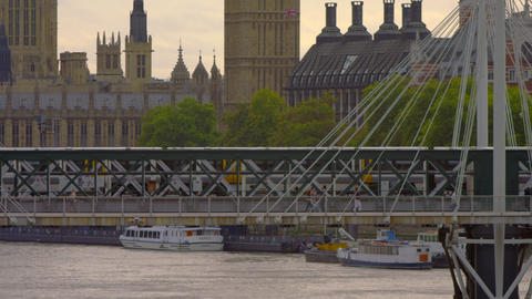 close-up of train on the Hungerford Bridge in London, England Footage