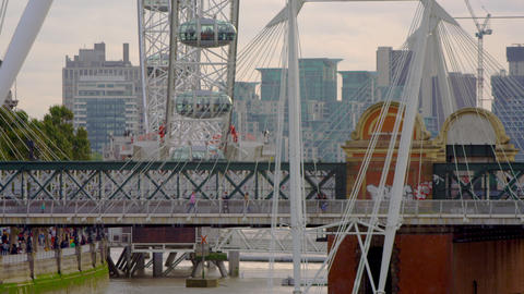 close-up of pedestrians on Hungerford Bridge in London Footage