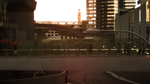 Wide shot of walkway with tram tracks and vegas city in background Footage