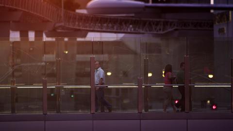 Static shot of people walking inside invegas Footage