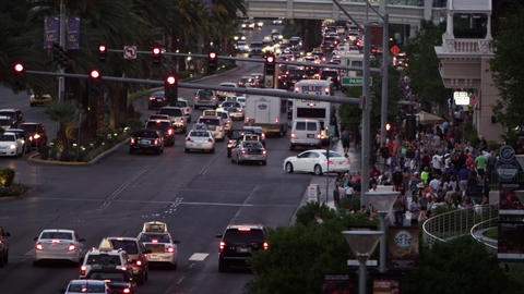 Shot of busy traffic intersection in vegas Footage