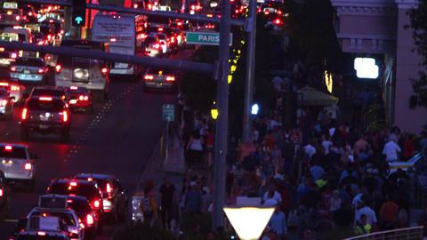 Crowded Las Vegas street and sidewalk Footage