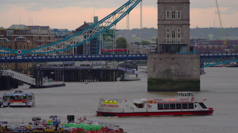 City cruise boat by Tower Bridge Footage