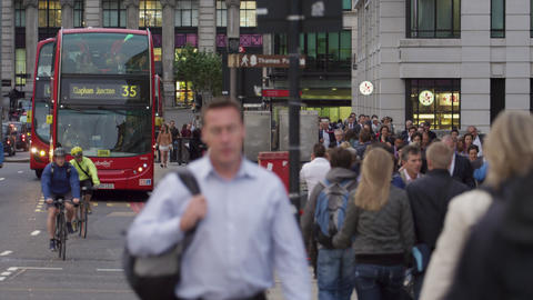 LONDON - OCTOBER 10: Double-deckers on a busy street on October 10, 2011 in Lond Footage