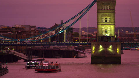Tower Bridge sunset with boats Footage