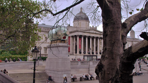 Trafalgar Square in London, England Footage