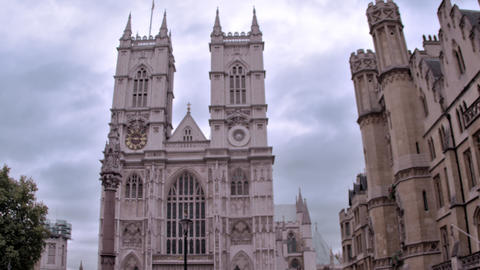 Stationary view of Westminster Abbey church in London, England Footage