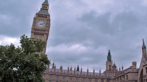 Traveling low angle view of big Ben in London, England Live Action