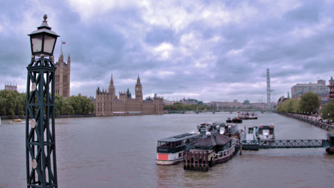 Traveling view of Westminster palace from across River Thames in London, England Footage