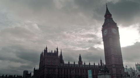 Stormy clouds behind Westminster palace in London, England Footage