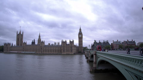 LONDON - OCTOBER 11: Unidentified people on Westminster bridge, evening view, pa Footage