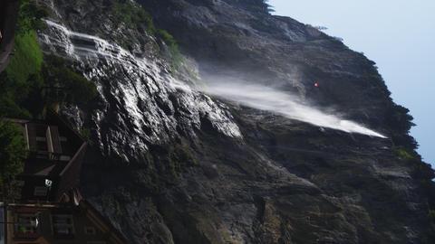 Static shot of waterfall in Switzerland Footage