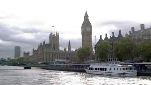 Birds fly over water with Westminster palace in background in London, England Footage