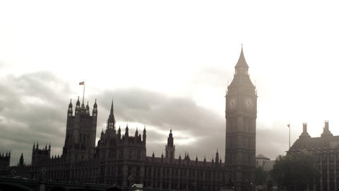 Westminster palace from a boat on Thames river in London England Footage