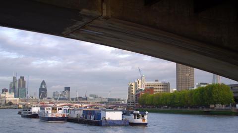 Under Waterloo Bridge in London, England Footage