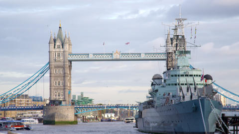 Big ship passes under Tower bridge in London, England Footage