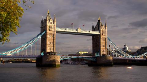 Dark clouds behind Tower Bridge in London, England Footage